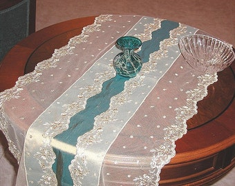 Turquoise silk table runner with French Lace and Swarovski crystals luxury lace table overlay viridian green teal home furniture decoration