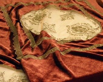 Christmas Decoration Velvet Tablecloth in Wine Red  Golden Lace for eclectic or glass tabletops Christmas gift housewares velour table deco