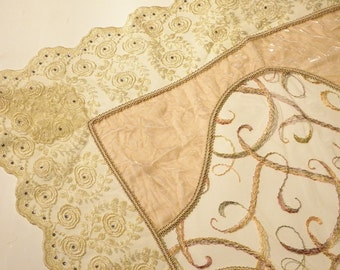 Table Runner Silk Soft Velvet with Swarovski Crystalls and Tulle SA-18506-02