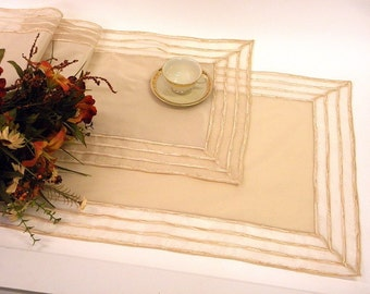 10% Discount for a Set of two elegant, modern Table Runner of ecru taffetas with striped border FLORA-F-5805 SET