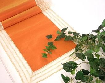 Table Runner, modern, elegant, peach orange taffetas, transparent organza border with chenille stripes and golden yarns: FLORA-F-082-5960