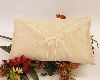 Spring Pillow Cushion Envelope ecru with gray satin flares and ruffled tulle trimming decoration cushion