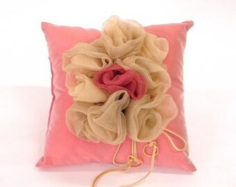 Wedding Ring pillow, pink satin quality taffetas handmade beautiful organza flowers romantic ring bearer victorian cushion home decoration