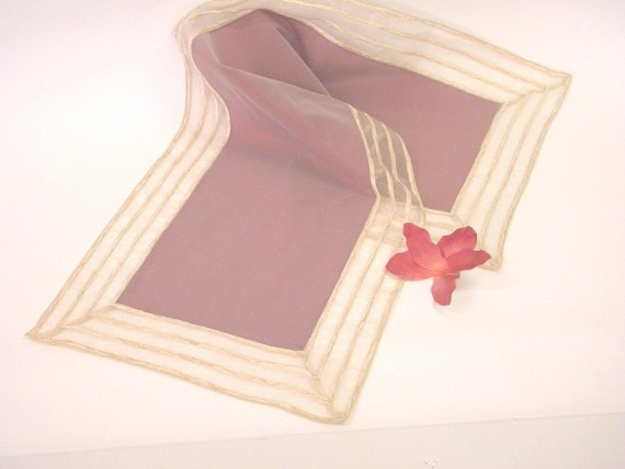 Table Runner, modern, elegant, pink-lilac taffetas, transparent organza border with chenille stripes and golden yarns: FLORA-F-083-5880