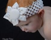 White Fabric Flower Crochet Headband Hair Accessory Bow Clippie