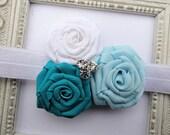 Baby Headband Flower Rose Rosette with Rhinestone Center Baby Blue, Turquoise, White
