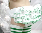 Christmas White Green Diaper Cover Ruffle Bloomer Ruffle Pants Panty