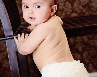 Ivory Diaper Cover Petti Pants Chiffon Ruffle Bloomers Fancy Pants Tutu