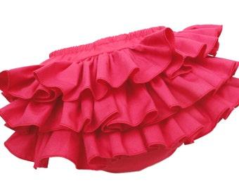Hot Pink Ruffle Diaper Cover Ruffle Bloomer Panty Skirt