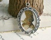 1pc - Vintage Owl- Ready Made Picture Pendant 40x29mm in oval antique silver
