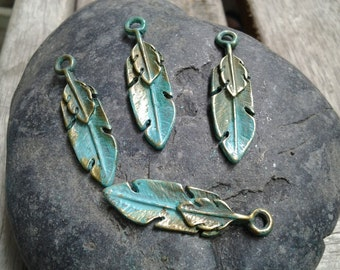 6pcs - Handmade Faux Verdigris Patina Feather Metal Charms 30x8mm
