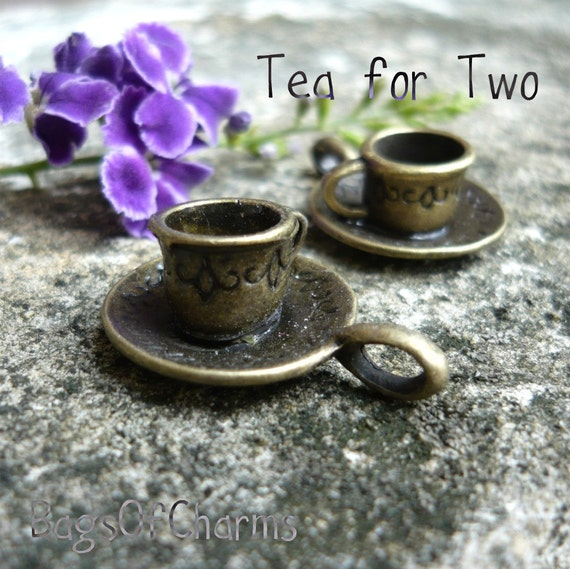 8pcs Coffee Cup and Saucer  charms in antique bronze - 26x18mm