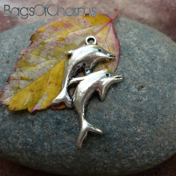 12pcs -  A pair of Dolphin Charms / Pendants in Antique Silver Color - 35x23mm