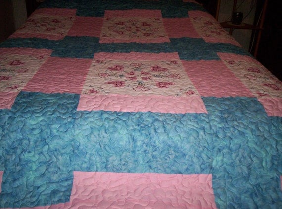 Embroiderered Quilt.......79x90 inches    REDUCED  PRICE.....