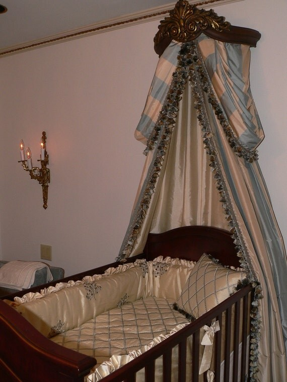 Elegant canopy with swags n drapes over a luxury custom silk for Drapes over crib