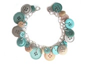 Jewelry Bracelet Charm Sand 'n Surf Hued  Buttons, , Sandy Neutrals, Aqua, Turquoise,  LIfe's A Beach In The Summer, BEACHY  CHIC BOHO Charm