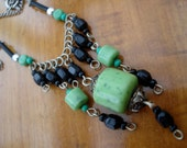 Art Deco Necklace Green and Black Beads 1910's 1920's