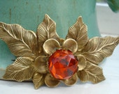 Vintage 50's Brooch Orange Glass Rhinestone Leaves