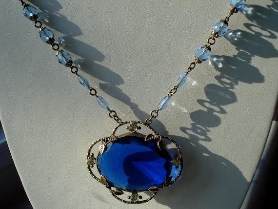 Art Deco Czech Necklace Blue Glass Pendant and Beads