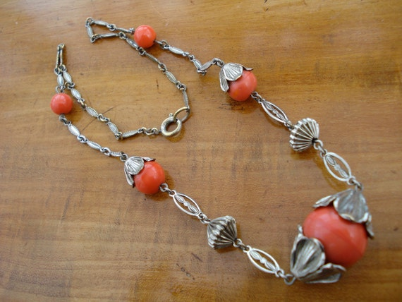 Art Deco Necklace Chrome and Orange Glass Beads 20's 30's Jakob Bengel