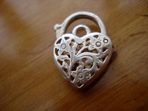 Vintage Lock Heart Shaped Sterling Filigree