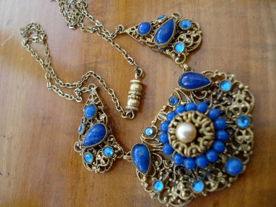 Art Deco Czech Necklace Lapis Blue and Pearl Glass 1920's 1930's