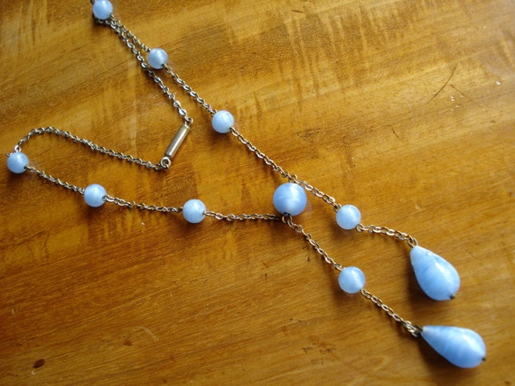 Art Deco Necklace Baby Blue Satin Glass Beads 1920's 1930's