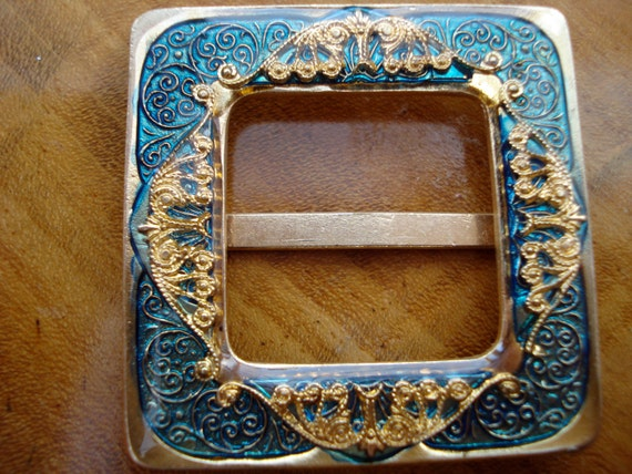 Czech Buckle Goldtone and Turquoise 20's 30's