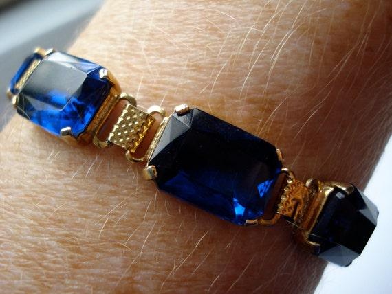 Art Deco Bracelet Blue Glass 1920's 1930's