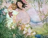 Cherry Blossom Children Repro Greeting Card Ruth Mary Hallock