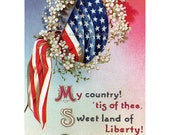 Fourth of July Greeting Card Patriotic Flag - Repro Ellen Clapsaddle