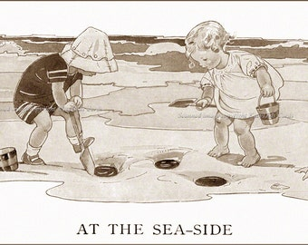 Kids Dig in Sand at the Beach Greeting Card - Repro Ruth Mary Hallock