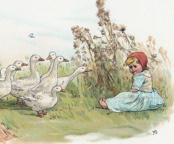Goose Girl Card | Toddler Sits with Geese | Repro Jane Mary Dealy