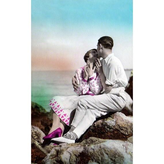 Seashore Lovers Kiss Greeting Card - Anniversary Wedding Card