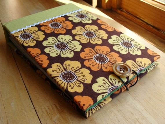 Tropical Hawaiian Flowers Photo Album/ Scrapbook/ Guest Book - Brown, Yellow, Orange & Tangerine