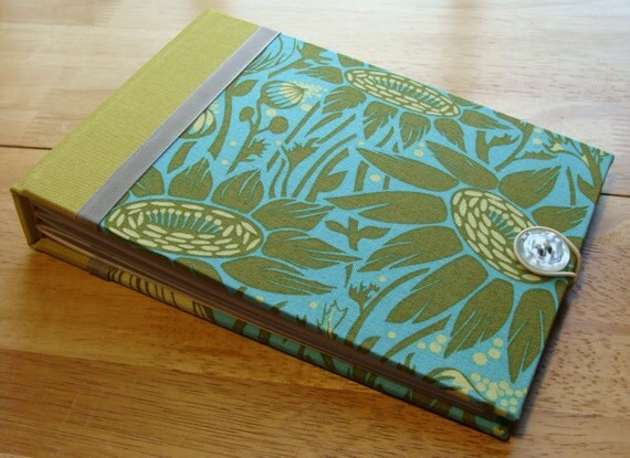 Handmade Photo Album/ Scrapbook/ Guest Book - Coreopsis Flowers in Moss, Teal Blue, Chartreuse & Gray