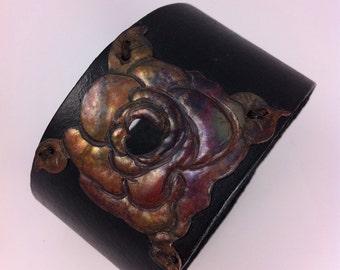 Jewelry Handmade Copper Leather Cuff: Purple Rose