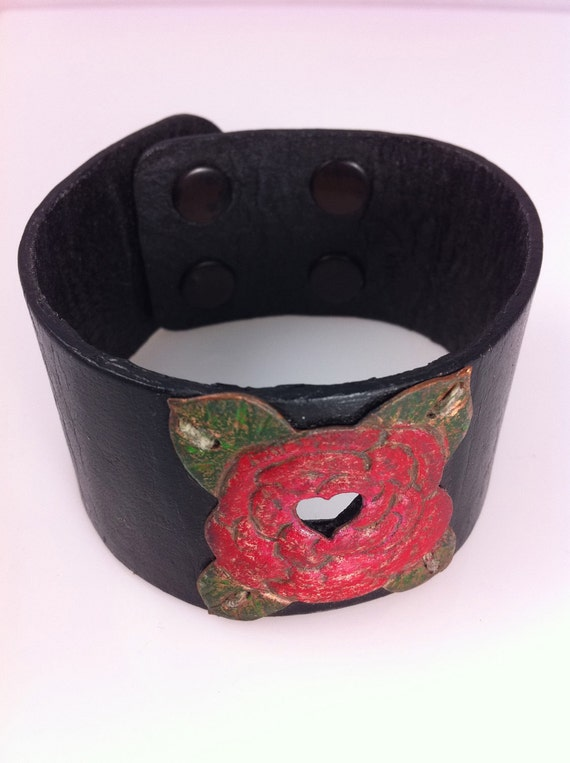 Red Rose Copper and Leather Cuff