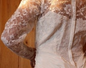 1950s Wedding Gown Bridal Vintage Lace Dress Confirmation Party Cream Ivory 3/4 Ankle Length Full Skirt