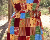 """SALE handmade Patchy Strapless Sun Dress """"Red Cliff"""" one-of-a-kind"""