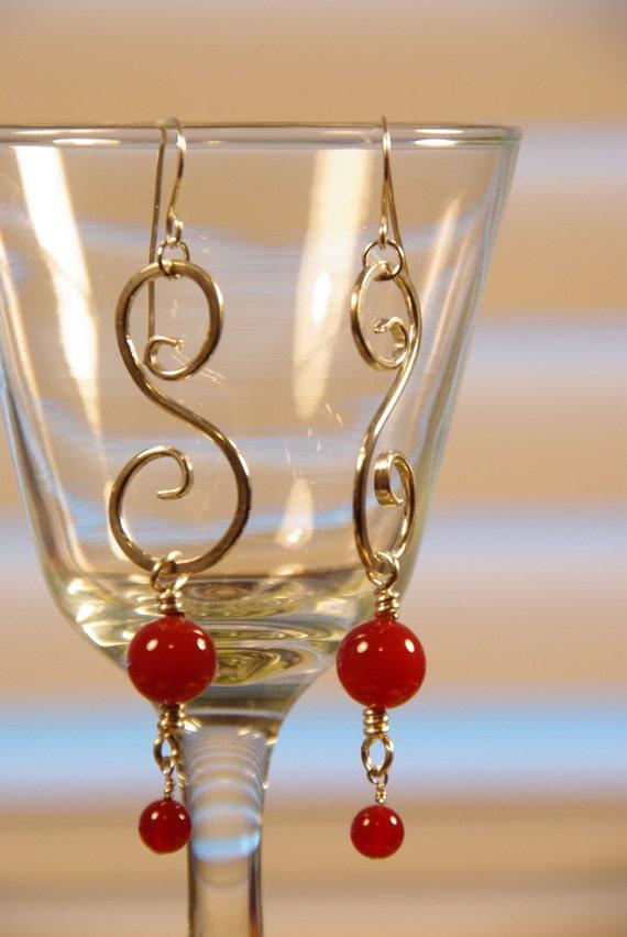 Carnelian and Silver Spiral Earrings