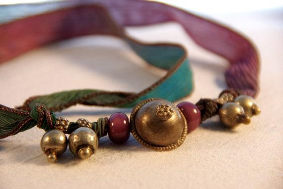 Bohemian Tribal Jingle Silk Wrap Bracelet/Necklace, Antique Kuchi Turkoman Buttons, Old Brass Bell Jewelry, Bohemian Belly Dancing Bracelet,