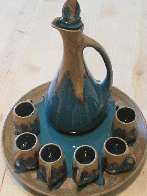 Gorgeous Denbac Liqueur Set, Comprising Carafe, 6 Small Cups & Tray C1920