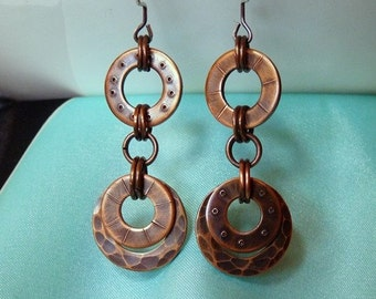 Upcycled Copper Washer Earrings. Industrial, Steampunk