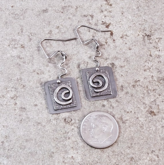 Sterling Silver Earrings. Dangle Spiral Squares,  Modern and Contemporary.