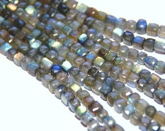 "10"" line AAA 6mm LABRADORITE box checker cut faceted beads"