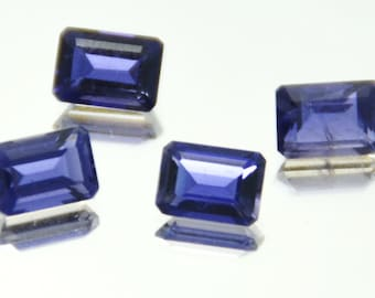 SALE 3.7CT 4 IOLITE Octagon cut deep blue purple Calibrated gemstones 3.70ct Total weight