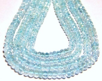 """AAA 5mm  13.75"""" AQUAMARINE sky blue faceted rondelle or rondelle gemstone beads"""