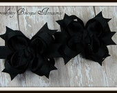 Solid All Black Mini Boutique Girls Hair  Bows - Great For Halloween - Set of Two Perfect For Pig Tails