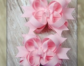 Light Pink Mini Boutique Girl Hair Bows Set of Two - Great For Valentines Day